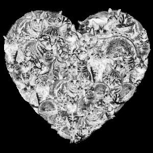 Herz-Katzen-Liebhaber-Miezekatze-Katzen-Kätzchen-Liebes-Haustier-Geschenk
