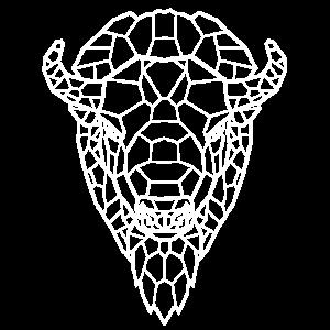 Büffel Line Art weiß