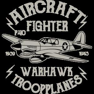 WARHAWK FIGHTER- Flugzeug Airplane Shirt Geschenk