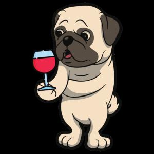 Wein Hund Mops Lustig Pullover - Geschenk