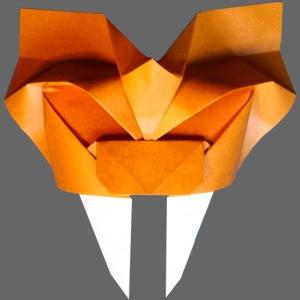 Origami Saber Toothed Tiger Mask - Tigre Origami