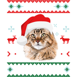 Meowy Christmas Maine Coon Merry Xmas Cat