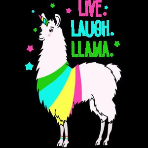 Einhorn Lama Llama Geschenk witzig Regenbogen