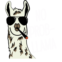 No ProbLlama - Wortspiel mit coolem Joint-Lama