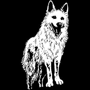weißer Schäferhund gezeichnet