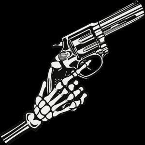 Skeletthand mit Waffe