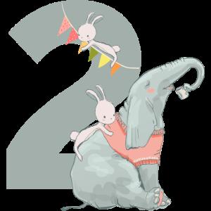 Geburtstag 2 Zahl Elefant Hase Junge