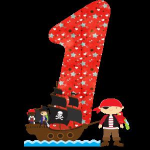 Geburtstag Zahl 1 Pirat Piratenschiff Junge