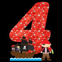 Geburtstag Zahl 4 Pirat Piratenschiff Junge