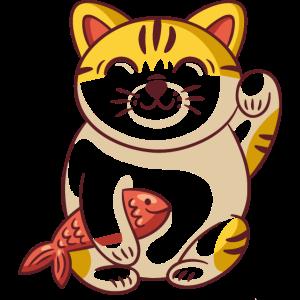 Katze mit Fischen blinzeln