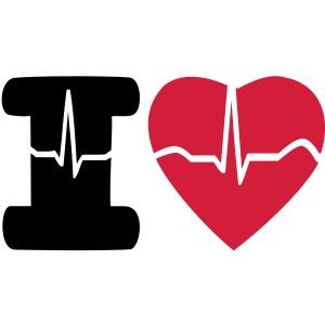 i love  with tattooed big signal heart beat