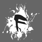 F Logo in Schwarz mit Farbklecks