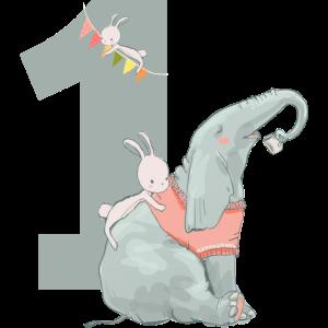 Geburtstag Zahl 1 Elefant Hase Mädchen