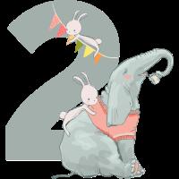 Geburtstag Zahl 2 Elefant Hase Mädchen