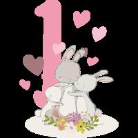 Geburtstag Zahl 1 Hasenfamilie