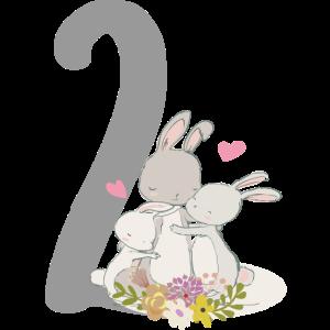Geburtstag Zahl 2 Hasenfamilie