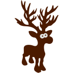 niedlicher Elch Karibu Rentier schnee ski skifahren Reh Hirsch Weihnachten Geweih Norwegen rudolph r