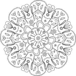 Mandala in schwarz, handgezeichnet