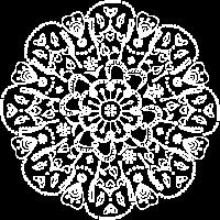 Mandala in weiss, handgezeichnet