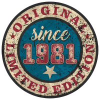 US Style since 1981 original limited edition RAHMENLOS Geburtstag