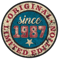 US Style since 1987 original limited edition RAHMENLOS Geburtstag