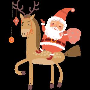 Weihnachtsmann auf Rentier