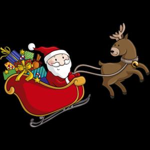 Comic Weihnachtsmann im Schlitten