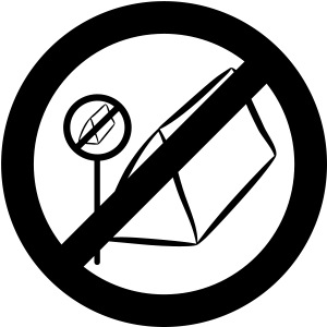posting of camping forbidden signs prohi