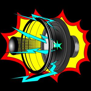 Explodierender Lautsprecher comicstyle