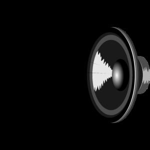 Lautsprecher und verzerrte fliegende Musik Noten