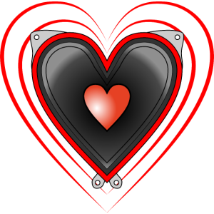 Liebe laute Musik Lautsprecher in Herzform tönt