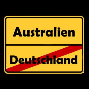 Auswandern nach Australien! Ortsschild Desing.