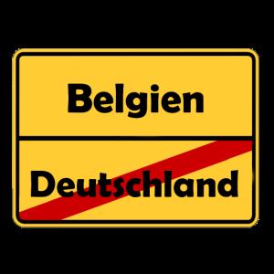 Auswandern nach Belgien! Ortsschild Desing.