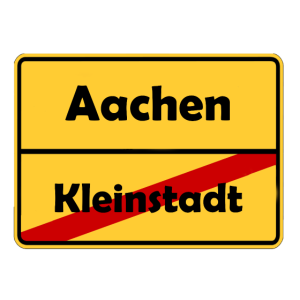Umzug nach Aachen! Ortsschild Design.