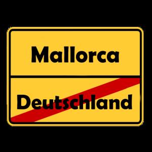 Auswandern nach Mallorca! Ortsschild Desing.