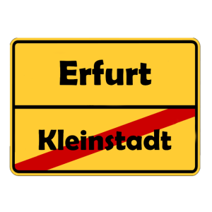 Umzug nach Erfurt! Ortsschild Design.
