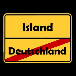 Auswandern nach Island! Ortsschild Desing.