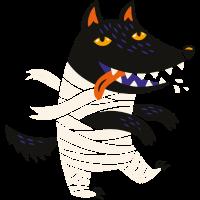Wolf im Halloween-Kostüm