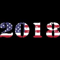 """Amerikanische Fahne als """"2018"""" Jahreszahl"""