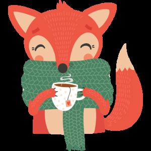 Fox mit Teetasse