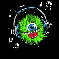 monster green kopfhörer music maskottchen fell zyk