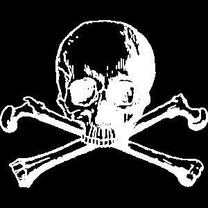 Totenschädel mit gekreuzten Knochen weiss