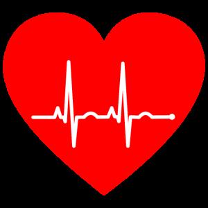 Rotes Herz mit Pulsschlag