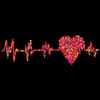 Bunter Pulsschlag mit einem Herz