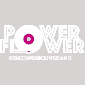 Logo PowerFlower bianco e fuxia