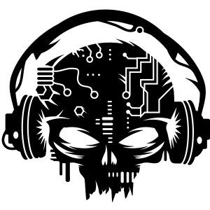 Cyborg Skull with headphones