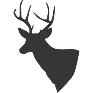 Silueta trofeo ciervo en negro.