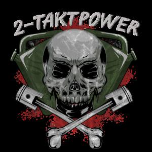 2 Takt Power Totenkopf Schädel Kolben
