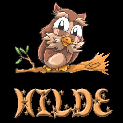 Eule Hilde - Hilde Eulen Design für Hilde. - Hilde,Hilde Geburt,Hilde Eule,Hilde Eulen,Hilde süss,Hilde Geburtstagsgeschenk,Hilde Geburtstag,Hilde Geschenke