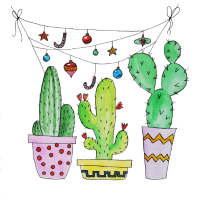Kaktus, Kakteen, Kaktusse mit Girlande